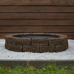 Чаша для костра Concretika iron P60 на основании из состаренного бетона 2 уровня кладки
