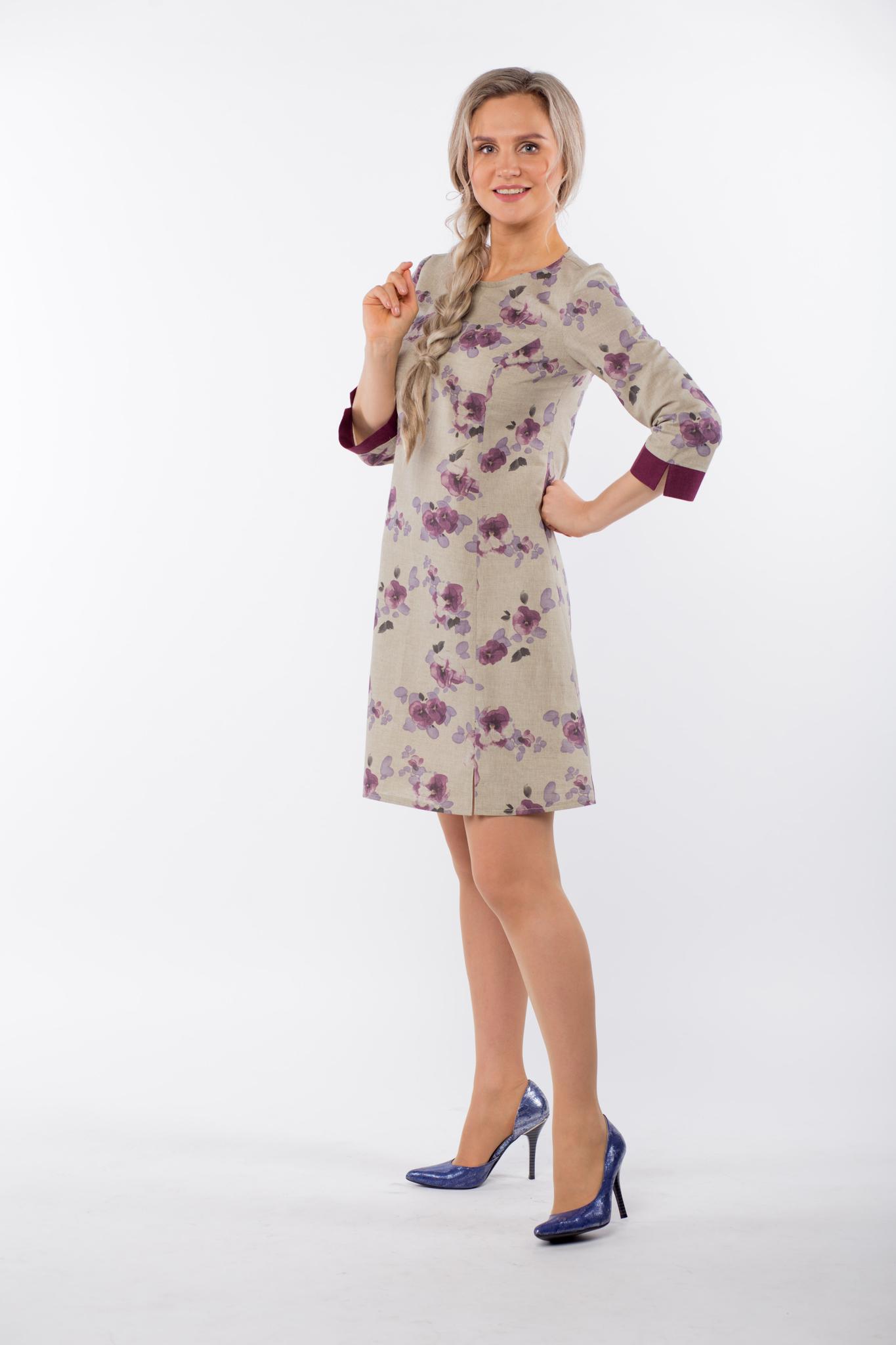 Платье льняное Лесная фиалка вид сбоку