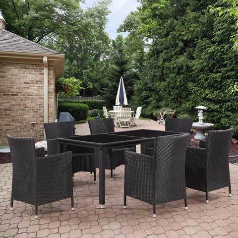 Комплект плетеной мебели T246A/Y189D Black 6Pcs