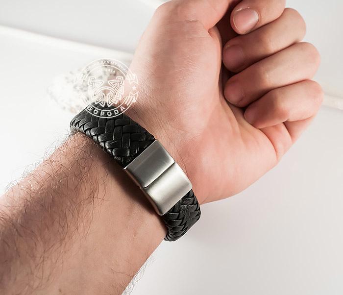 BM367 Широкий мужской браслет из натуральной кожи на магнитной застежке (22 см) фото 09