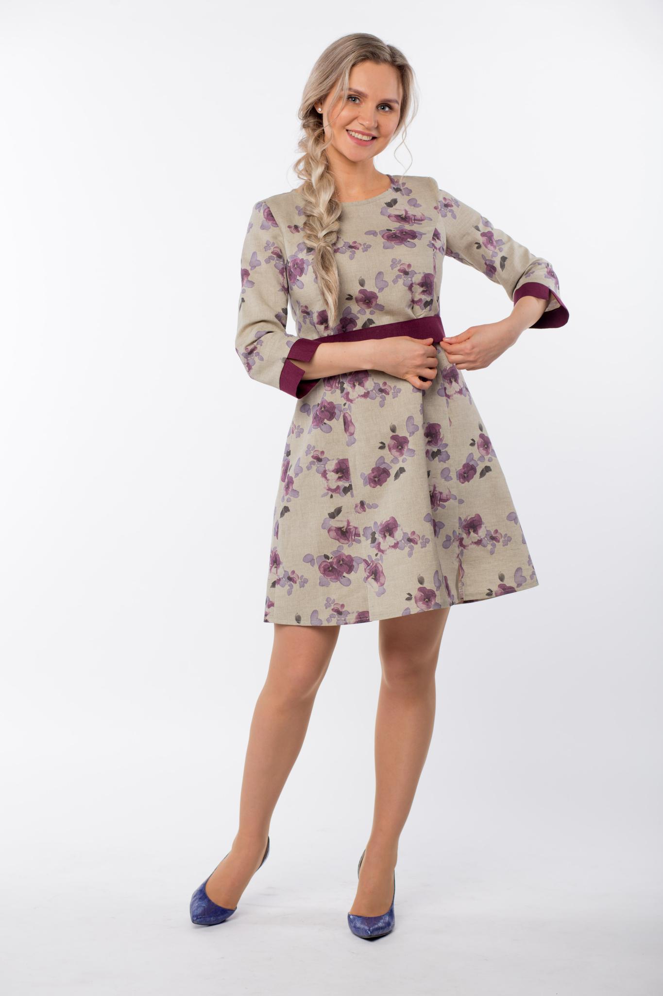 Платье льняное Лесная фиалка в русском стиле