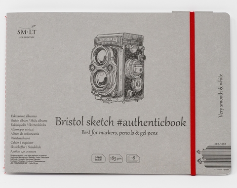 Альбом Authentic Bristol 185г/м2 24.5*17.9см 18листов с закладкой-застежкой книжный переплет (сшитый)