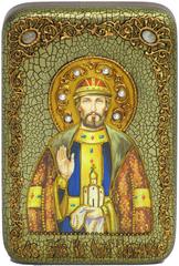 Инкрустированная Икона Святой благоверный князь Олег Брянский 15х10см на натуральном дереве, в подарочной коробке