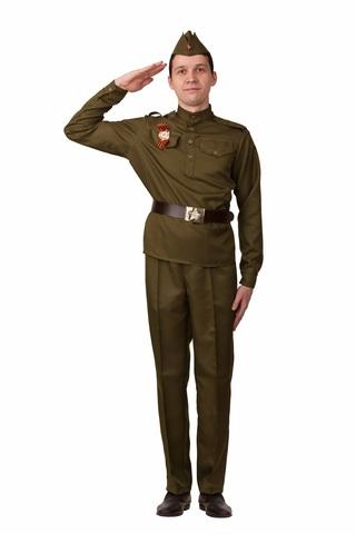 Военная форма взрослая Солдат с прямыми брюками и орденом (текстиль)