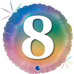 Г 18''/46см, Круг, 8 Цифра, Радужный, Голография.
