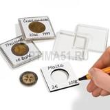 Квадратная капсула QUADRUM NOTE 50х50 мм, с вырезом для монеты D 14 mm (одна сторона белая для записей)