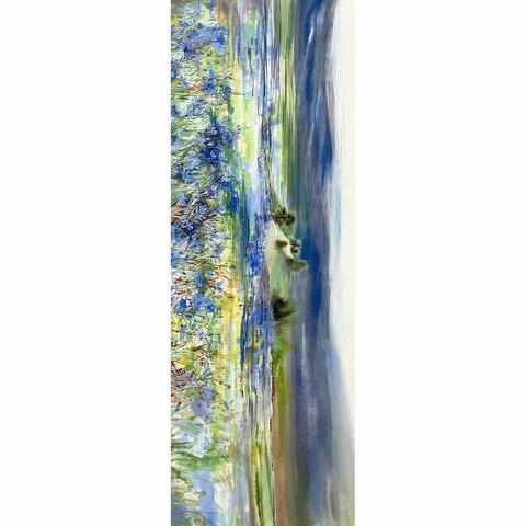 Шелковый палантин батик Луговые цветы С-51