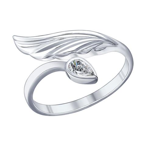 94011889 - Кольцо из серебра с каплевидным фианитом и крылом