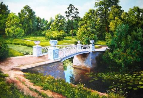 Картина раскраска по номерам 40x50 Белый мост над рекой с кувшинками