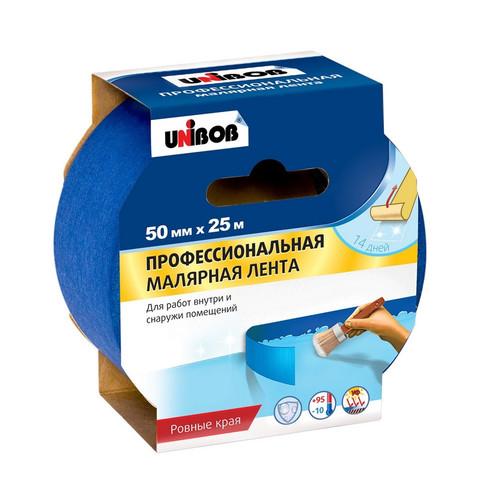 Клейкая лента малярная Unibob 50мм х 25м проф. для наружных работ