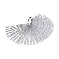 Типсы на кольце КВАДРАТ тройные прозрачные 150шт