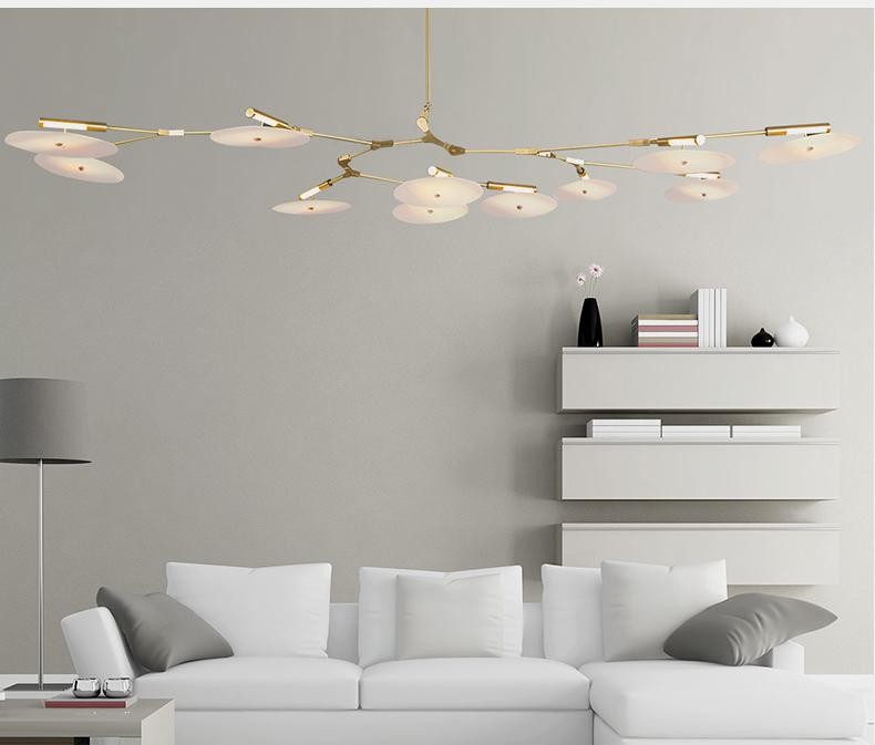Потолочный светильник копия Branching Discs by Lindsey Adelman (9 плафонов, золотой)