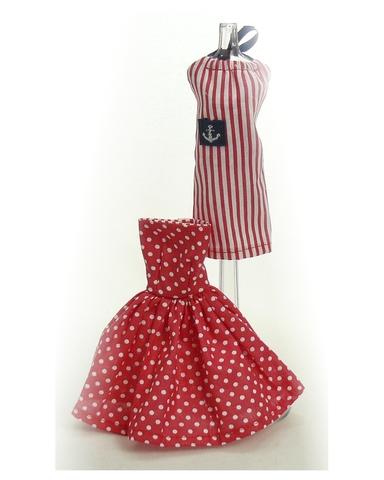 Два хлопковых платья - Красный. Одежда для кукол, пупсов и мягких игрушек.