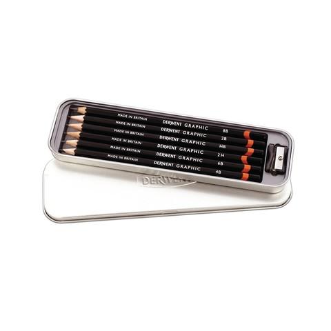 Набор чернографитных карандашей GRAPHIC 6шт с точилкой в метал.упаковке