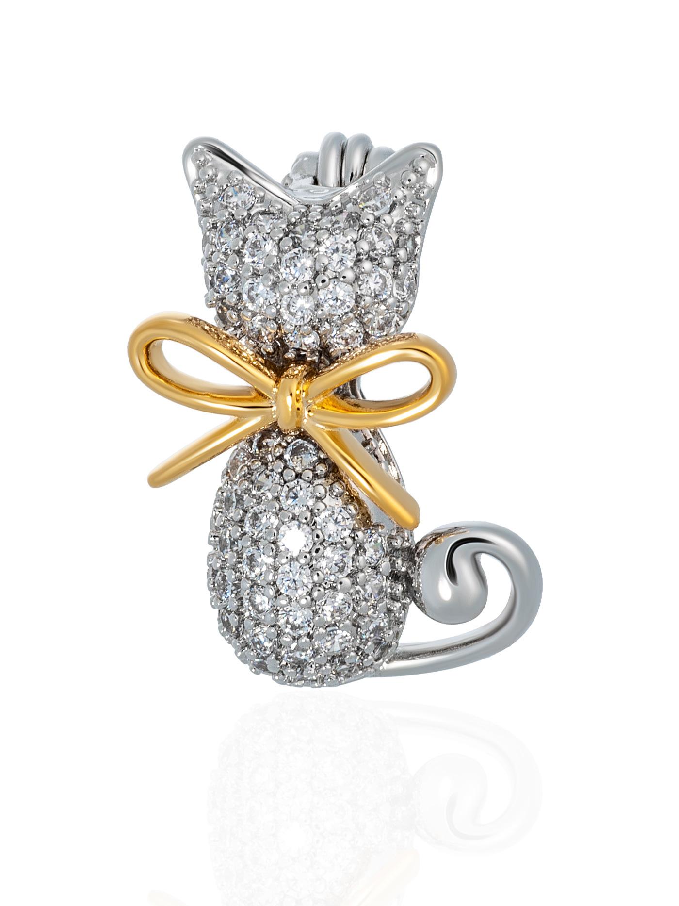 Мини-брошь Кошка с фианитами в подарочной коробке