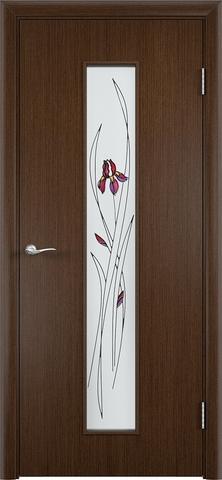Дверь Верда С-21, стекло Сатинато (Ирис), цвет венге, остекленная