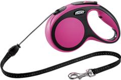 Поводок-рулетка Flexi New Comfort М (до 20 кг) трос 5 м черный/розовый
