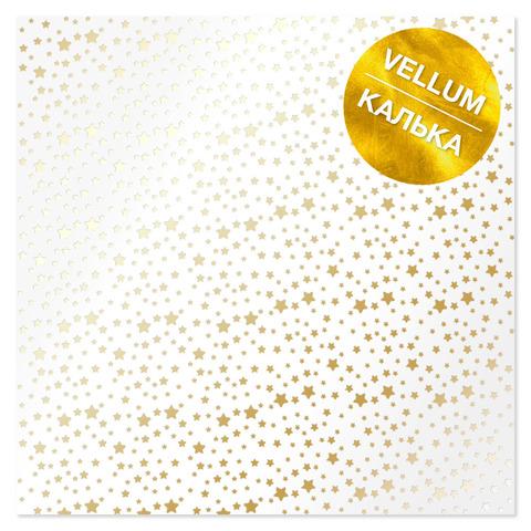 Лист кальки (веллум) с фольгированием Golden Stars 30,5х30,5 см