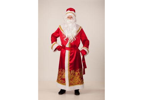Костюм Дед Мороз сатин красный пейзаж золото