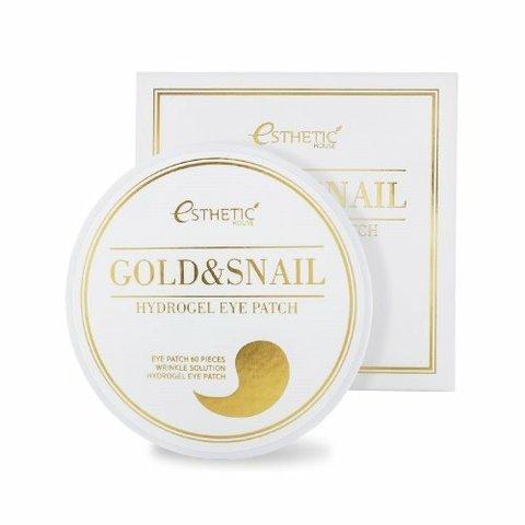 Esthetic House Gold & Snail Hydrogel Eye Patch гидрогелевые патчи для кожи вокруг глаз с золтом и улиточной слизью