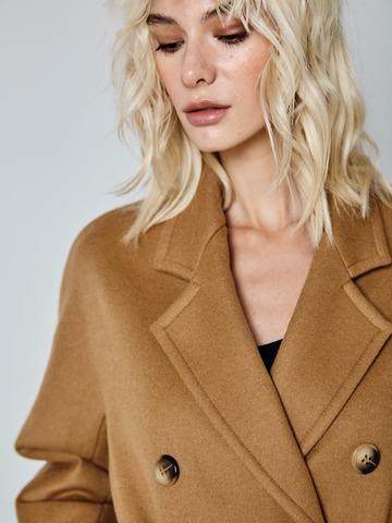 Пальто двубортное из шерсти и кашемира кэмел