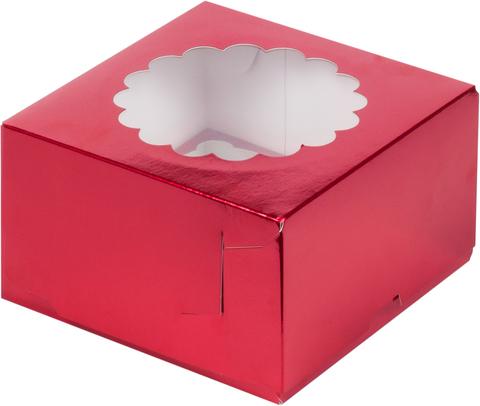 Коробка на 4 капкейка (вишня)