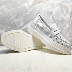 Женские белые лоферы кроссовки с белой подошвой Derem 372-17 All White.