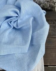 Отрез 0,65м Лен костюмный 100%, цвет Джинсовый голубой