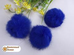 Помпоны кролик 6 см синие