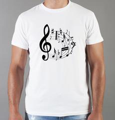 Футболка с принтом Ноты (с нотами, скрипичный ключ) белая 0015
