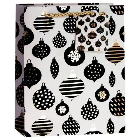 Пакет подарочный, Новогодние шарики, Белый/Черный, 32*26*13 см