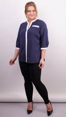 Аврора. Комбінована блуза великих розмірів. Синій+горошки.