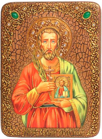 Инкрустированная Икона Святой мученик Евгений Севастийский 29х21см на натуральном дереве, в подарочной коробке