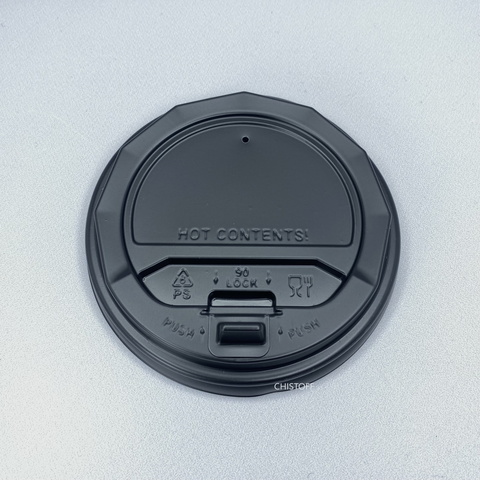 Крышка на стакан 90 черная с клапаном (50 шт.)
