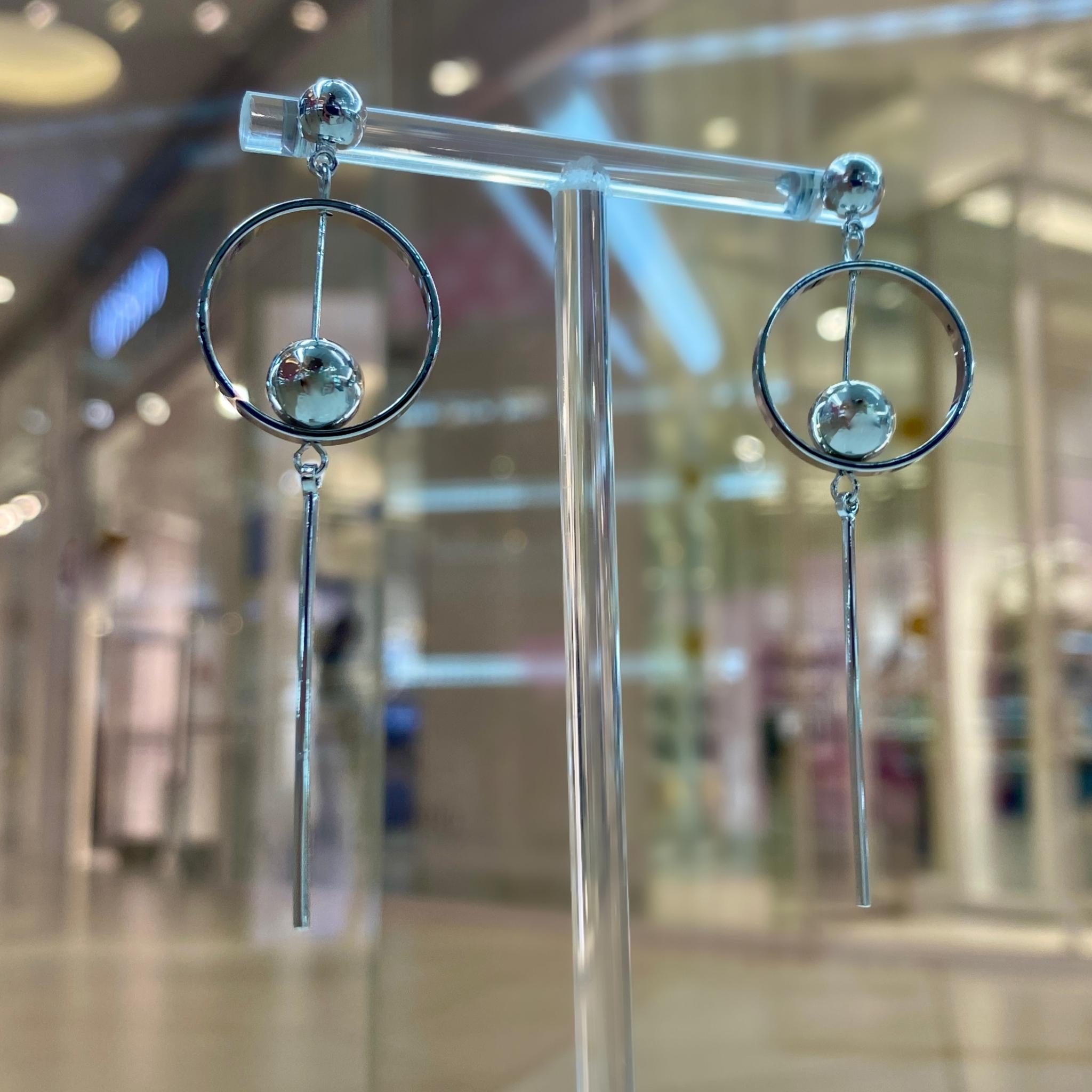 Серьги MIX Геометрия длинные серебряные ш925