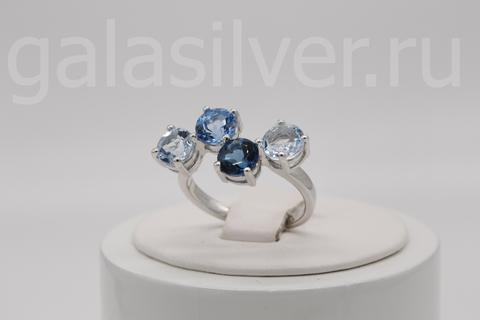 Кольцо с голубым топазом и