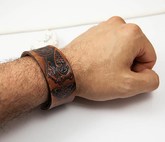 BL479 Мужской кельтский браслет «Птицы» ручной работы фото 06