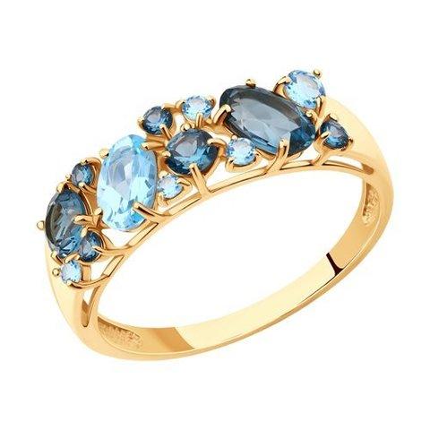 714174 - Кольцо из золота с синими топазами