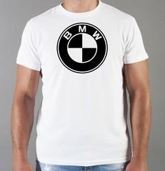 Футболка с принтом BMW (БМВ) белая 004