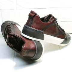 Мужские осенние кроссовки кеды на толстой подошве Luciano Bellini C6401 MC Bordo.