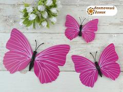 Бабочки из пленки на магните малиновые