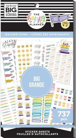 Блокнот со стикерами для ежедневника Create 365 Happy Planner Value Pack Stickers - Icons Teacher - BIG- 737 шт