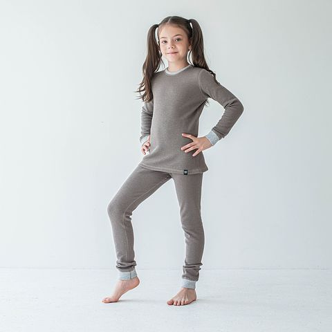 Thermal underwear set for teens - Cocoa