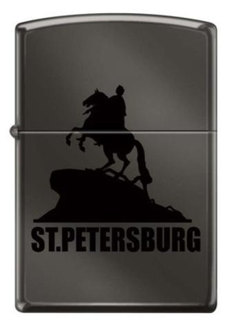 Зажигалка Zippo Медный всадник, латунь/сталь с покрытием Black Ice®, чёрная, глянцевая, 36x12x56 мм
