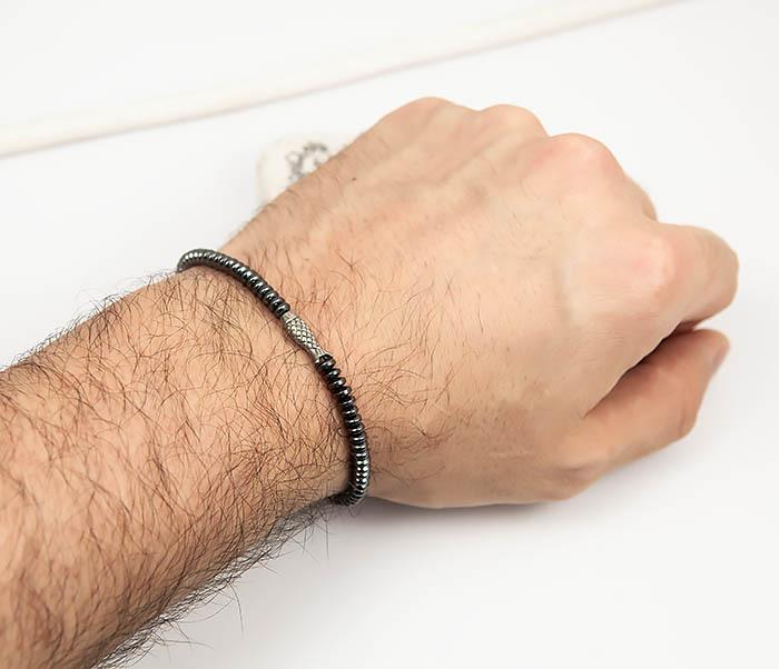 BS801 Тонский браслет ручной работы из гематита с рыбкой (19 см) фото 06
