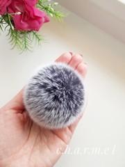 Помпон из натурального меха, Кролик, 5-6 см, цвет Шиншила, 2 штуки