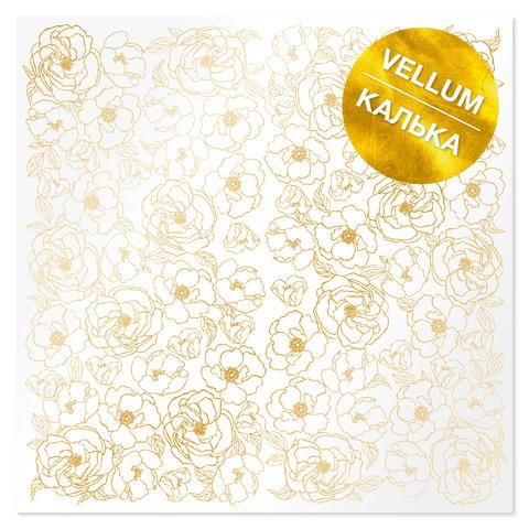 Лист кальки (веллум) с фольгированием Golden Pion 30,5х30,5 см
