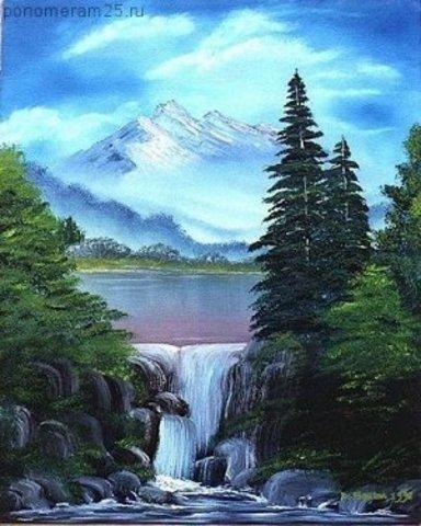 Алмазная Мозаика 30x40 Горное озеро среди деревьев (арт. GB70516)