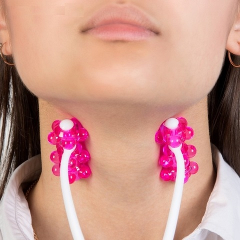 Массажер для лица и шеи розовый Трезубец