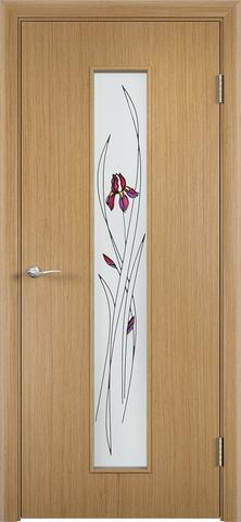 Дверь Верда С-21, стекло Сатинато (Ирис), цвет дуб, остекленная